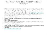Can I Convert FLV to iPhone 5 with FLV to iPhone 5 Converter