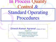 in process quality control &amp; standard operating procedures