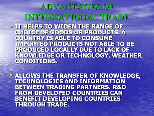 disadvantages of international trade essay The main of advantage of free trade is lower prices for consumers, while a disadvantage is that domestic firms often find it difficult to compete with large international firms.
