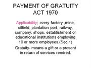 PAYMENT OF GRATUITY ACT 1970