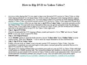 How to Rip DVD to Yahoo Video