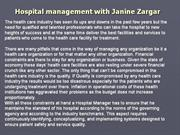 Hospital management with Janine Zargar