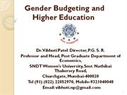 Gender Budgeting and Higher Education 20-9-2010