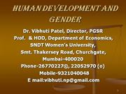 Human Development and Gender: Prof. Vibhuti Patel