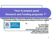 Research Proposal Writing: Prof. Vibhuti Patel