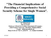 Social Security for Single Women: Prof. Vibhuti Patel