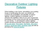 Decorative Outdoor Lighting Fixtures
