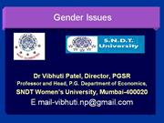 Gender Issues: Prof. Vibhuti Patel