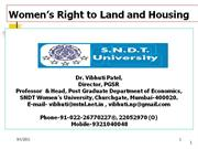 Womens Right to Land and Housing by Prof. Vibhuti Patel