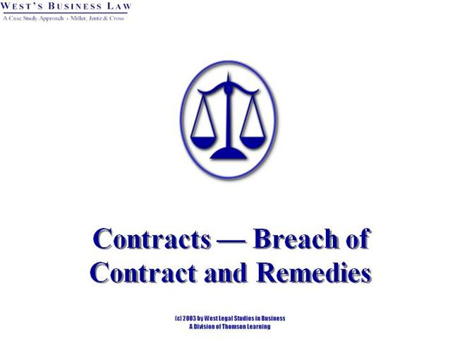 Remedy Of A Breach Of Contract Authorstream