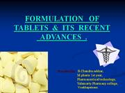 formulation of tablets & its recent advances