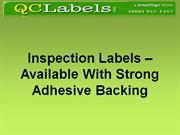 Inspection Labels – Available With Strong Adhesive Backing