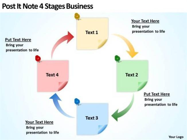 post it note 4 stages business plan and strategy slides powerpoint