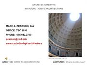 Lecture1 - What is Architecture?