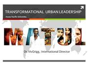 MA in Transformational Urban Leadership