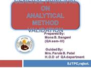 general principle on methpd validation