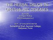 THE HERBAL DRUGS IN OPHTHALMIC DISEASES