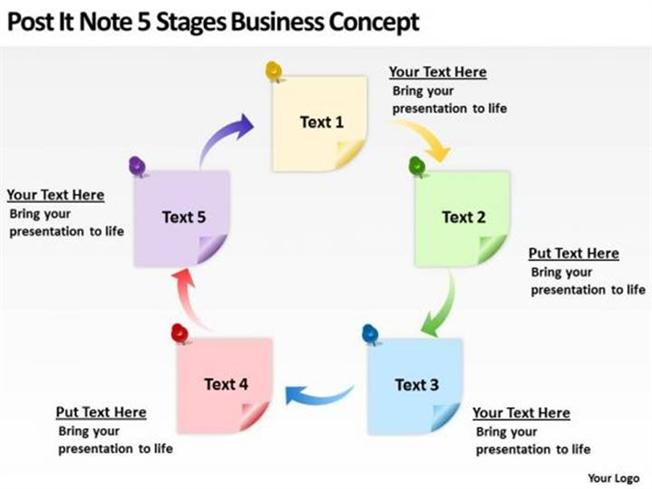 post it note 5 stages business concept template slides powerpoint