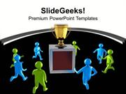 TEAMWORK 3D MEN RUNNING TOWARDS GOLDEN TROPHY BUSINESS PPT TEMPLATE