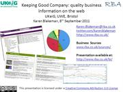 Keeping Good Company: quality business information on the web