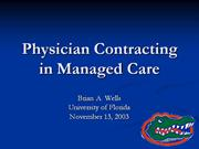 Physician Contracting in Managed Care