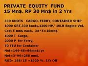 PRIVATE  EQUITY  FUND 15 Mn$  RP 30 Mn$ in 2 Yrs
