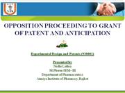 Opposition proceeding to patent and anticipation