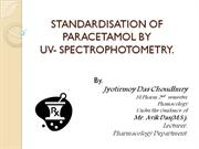 STANDIZATION OF PARACETAMOL BY UV- SPECTROPHOTOMETRY
