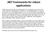 Dot NET Frameworks for robust applications