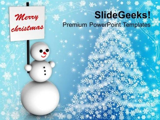 Christian Snowman Wishing Christmas Holidays Ppt Template Powerpoint