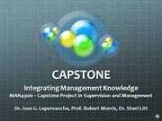 2010 Capstone Project in Supervision and Management