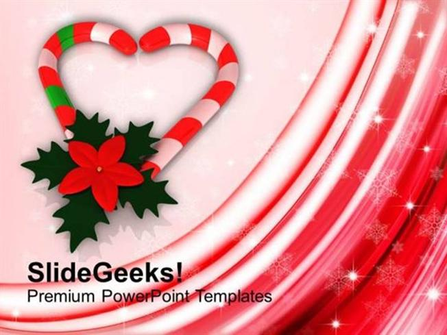 CHRISTIAN CANDY CANE IN HEART SHAPE WITH RED FLOWER PPT TEMPLATE 1 PowerPoint Template