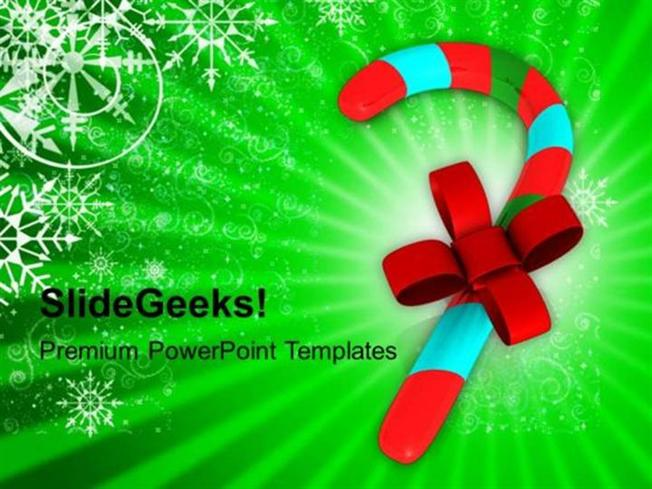 CHRISTIAN CANDY CANE WITH RED RIBBON PPT TEMPLATE PowerPoint Template