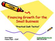 Financing Growth for the Small Business.