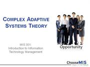 Class 05 - Complex Adaptive Systems Theory (CAS)