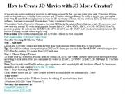 How to Create 3D Movies with 3D Movie Creator