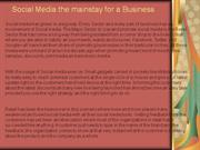 Social Media the mainstay for a Business