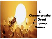 5 Characteristics of  Great Company Name