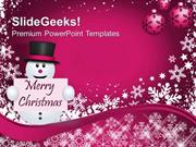CHRISTIAN SNOWMAN WITH CHRISTMAS MESSAGE HOLIDAYS PPT TEMPLATE