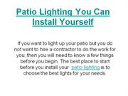 Patio Lighting You Can Install Yourself