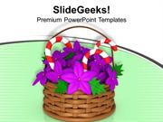 CHRISTIAN BASKET WITH CANDY BARS CHRISTMAS THEME PPT TEMPLATE