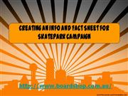 creating an info and fact sheet for skatepark campaign