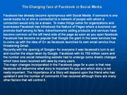The Changing face of Facebook in Social Media