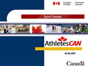 Sport Canada Presentation -Athletes CAN.