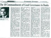 THE 10 COMMANDMENTS OF GOOD GOVERNANCE IN BANKS