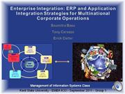 MIS Enterprise Integration-  ERP and Application Integration Strategie