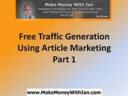 Generate Traffic Using Article Marketing Part 1