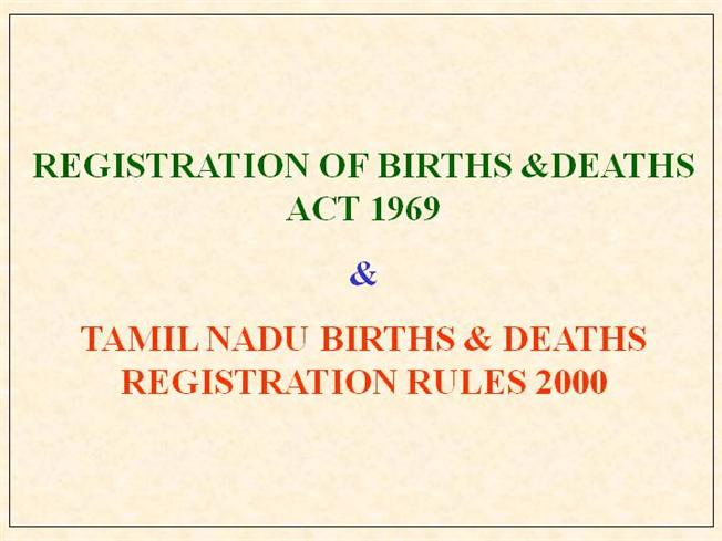 Birth And Death Registration G P Baskaran Assistant Director(SBHI ...