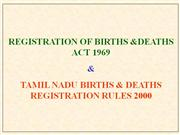 Birth and Death Registration G P Baskaran Assistant Director(SBHI)