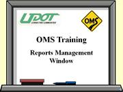 Reports Management Window